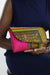African  Dashiki Print Clutch Purse- Pink/Yellow Floral Print - Africas Closet