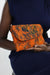 African Print Clutch Purse- Orange/Batik Print - Africas Closet