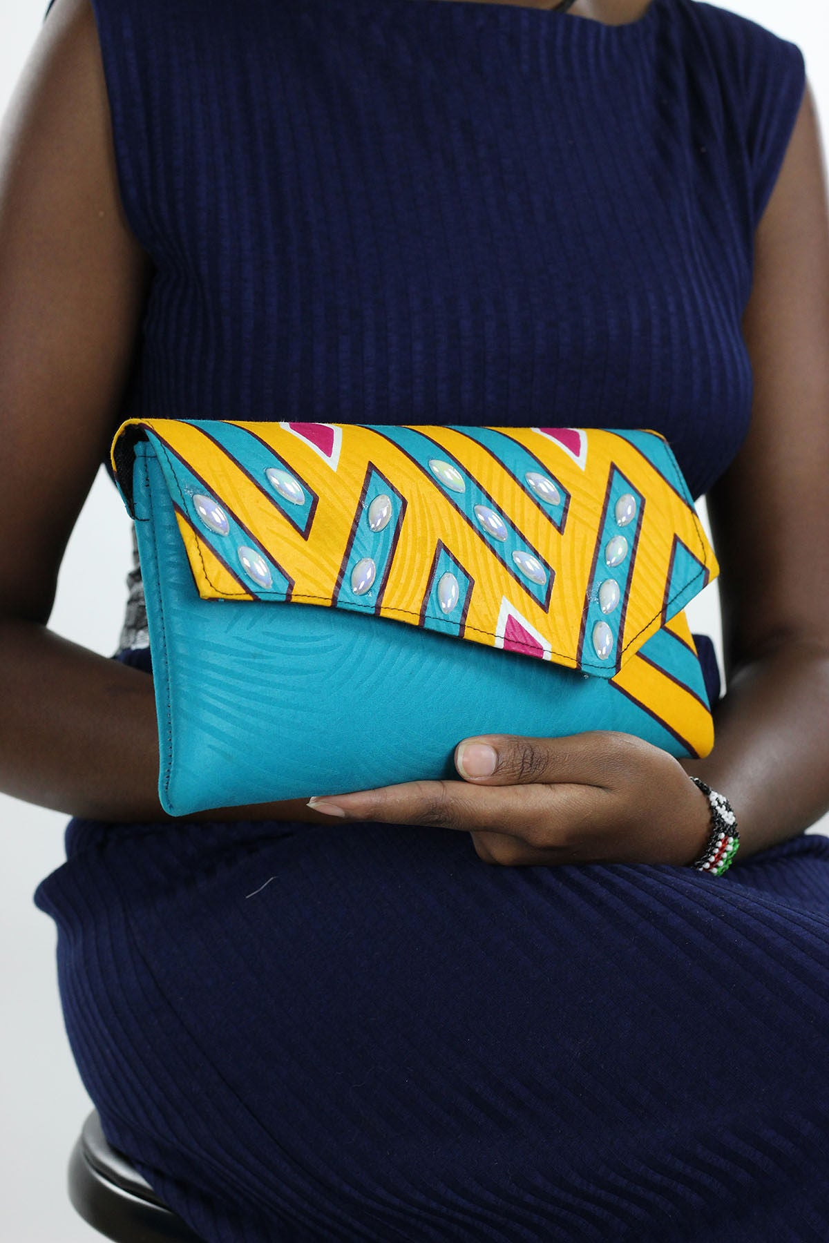 African Print Clutch  Bling Purse- Teal/OrangeFloral Print - Africas Closet