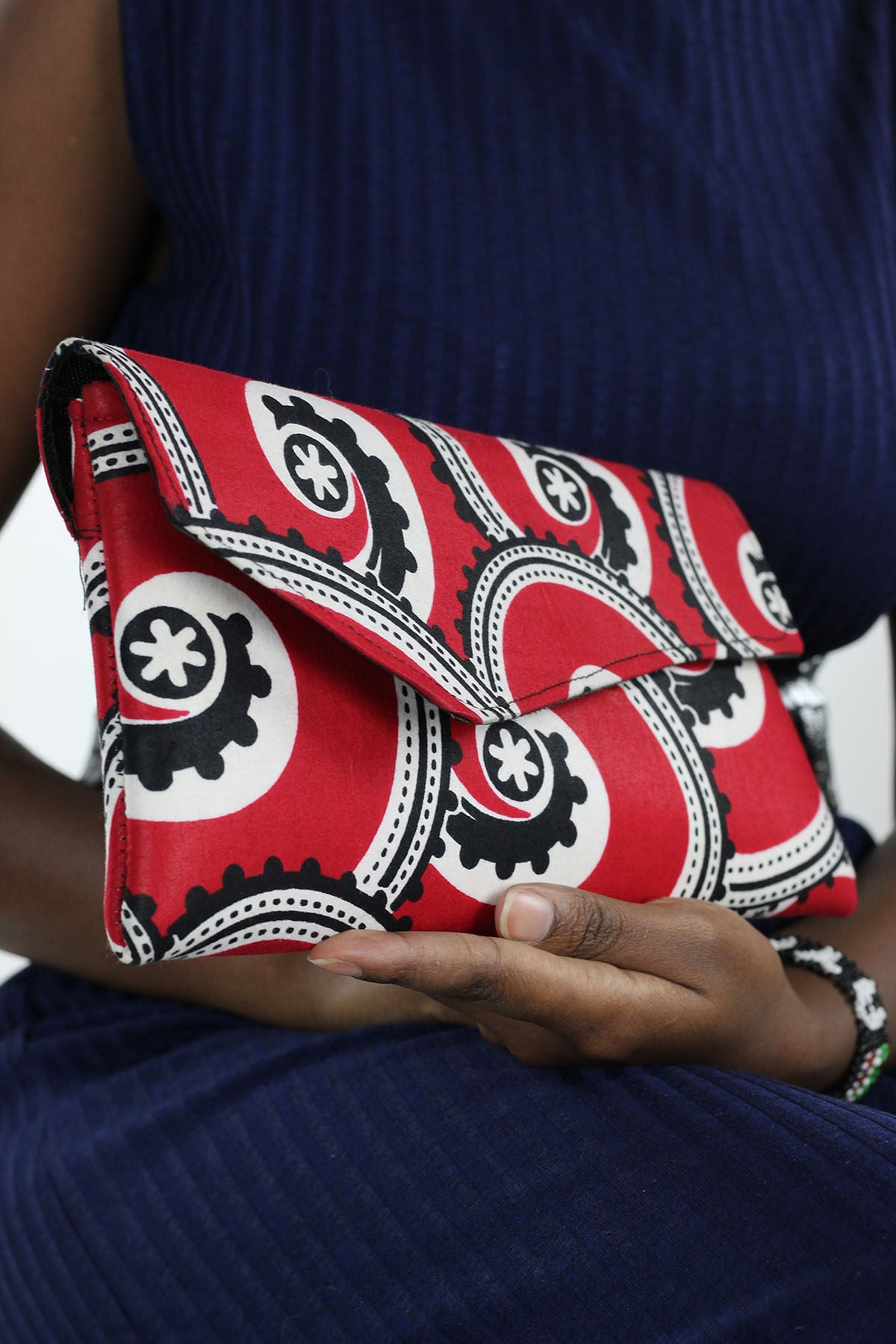 African Print Clutch Purse- Red/Black Floral Print - Africas Closet