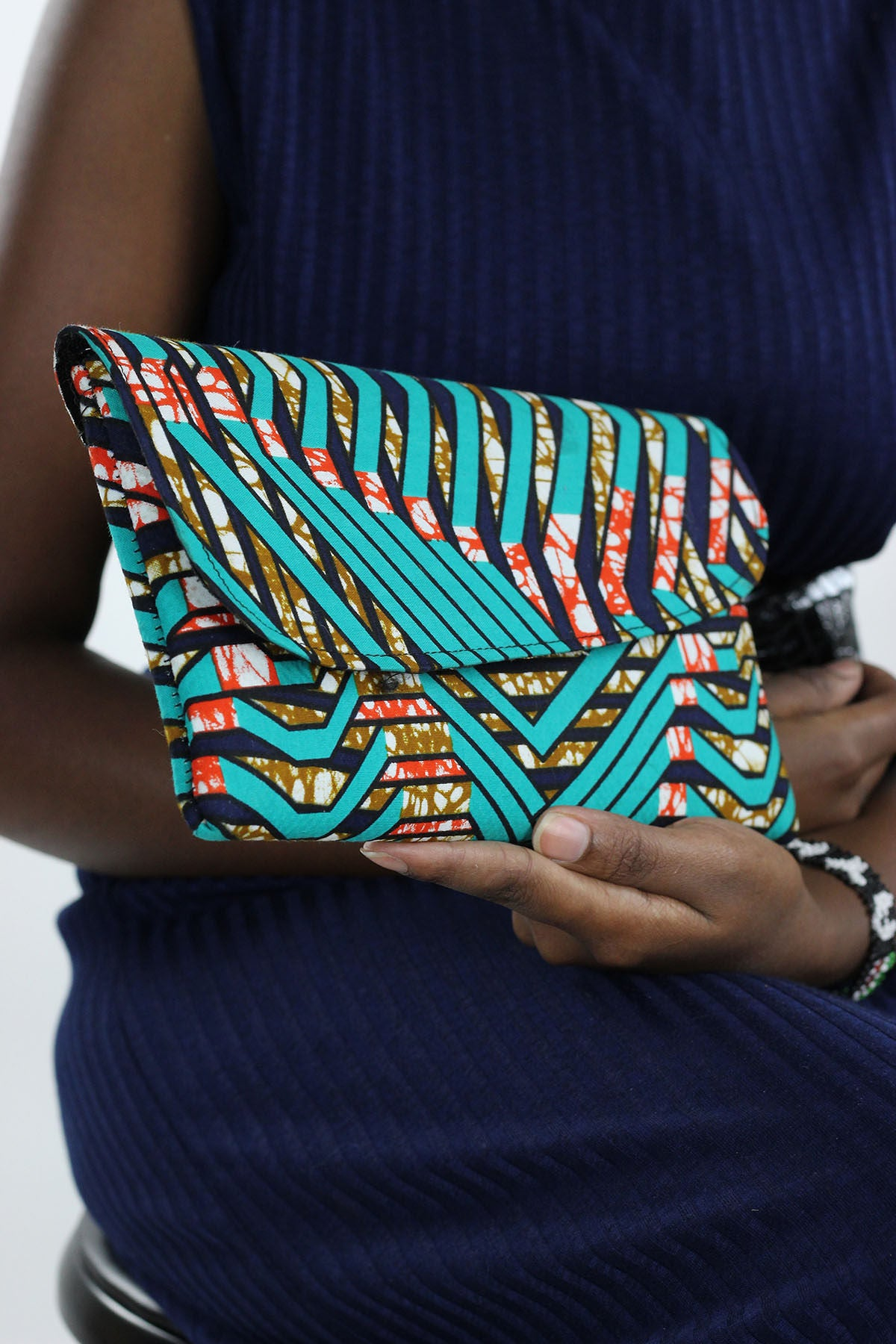 African Print Clutch Purse- Teal/Black loral Print - Africas Closet