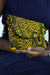 African Print Clutch Purse- Yellow/Black Floral Print - Africas Closet