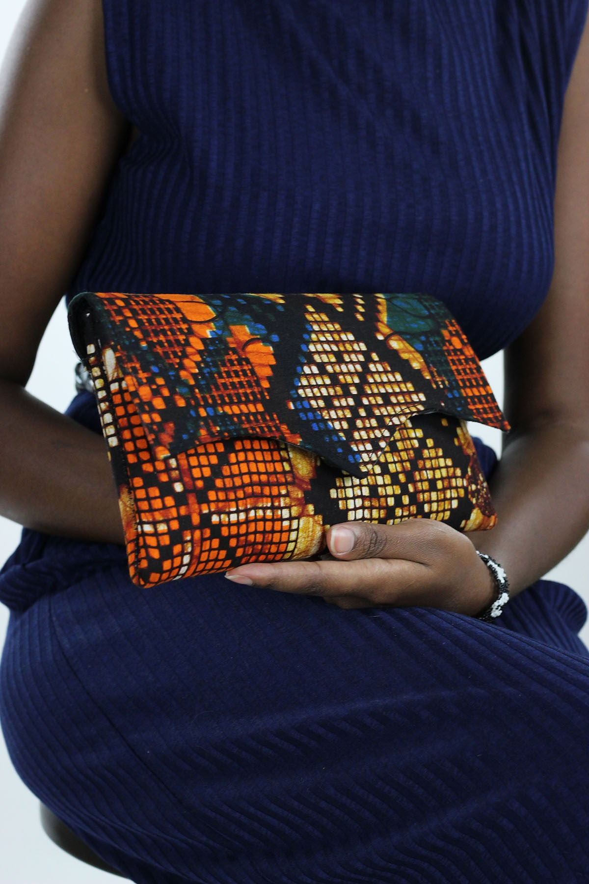 African Print Clutch Purse- Blue/Orange Floral Print - Africas Closet
