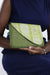 African Print Clutch Jute Purse- Light Green/WhiteFloral Print - Africas Closet