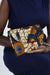 African Print Clutch Purse- Blue/Yellow Floral Print - Africas Closet