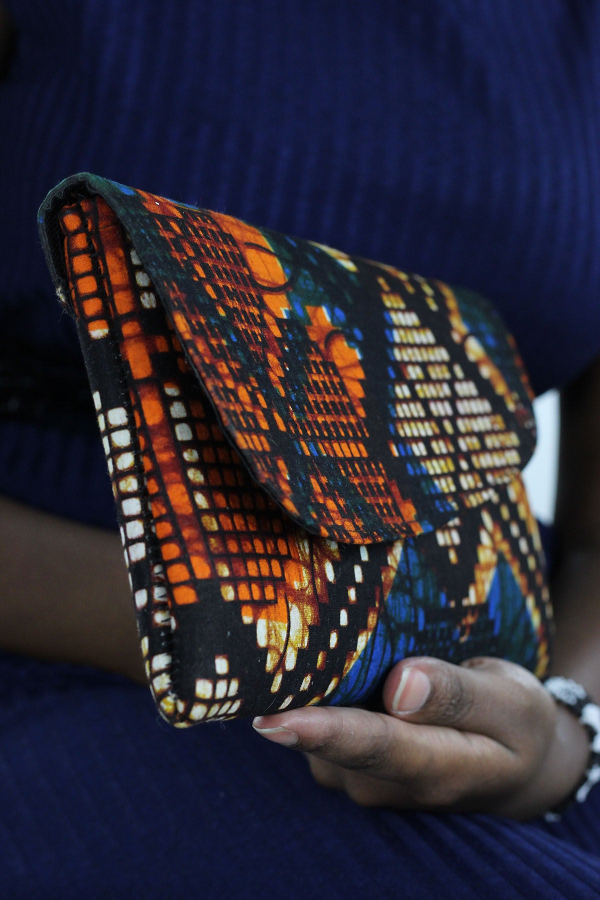 African Print Clutch Purse- Blue/Orange Geometric Print