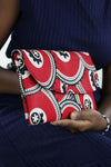 African Print Clutch Purse-Red/Black  Floral Print - Africas Closet