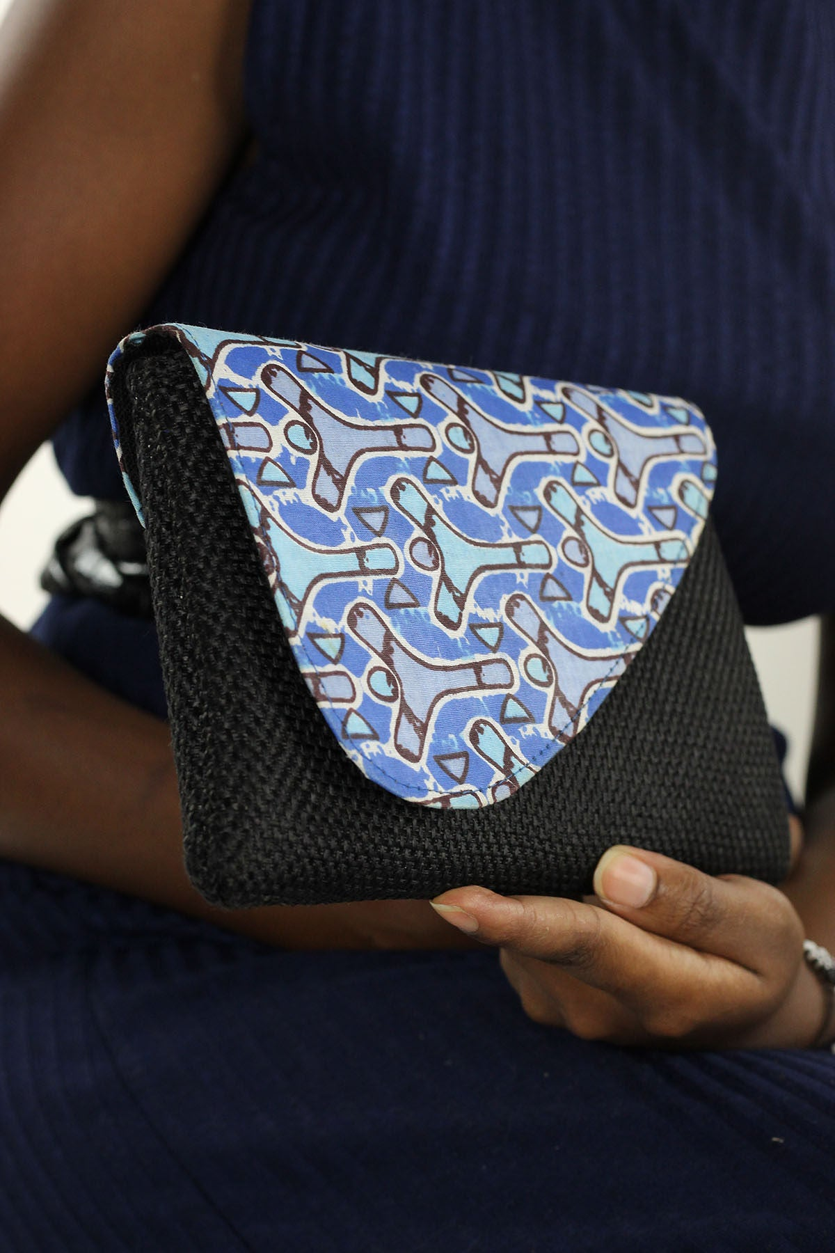 African Print Clutch Jute Purse- Blue/BlackFloral Print