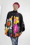 African Floral Cape - Black/Pink /Tie Dye - Africas Closet