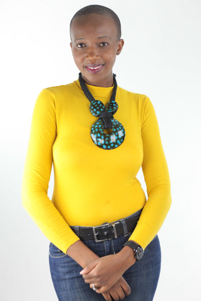 African Statement Necklace -Teal/Black - Africas Closet
