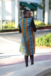 African Print Sleeveless Longline Shrug -Royal Blue Kente - Africas Closet