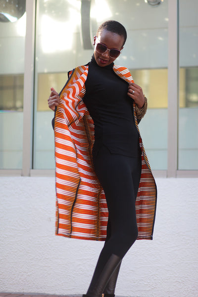 African Print Sleeveless Longline Shrug-Orange/White Fern Print - Africas Closet