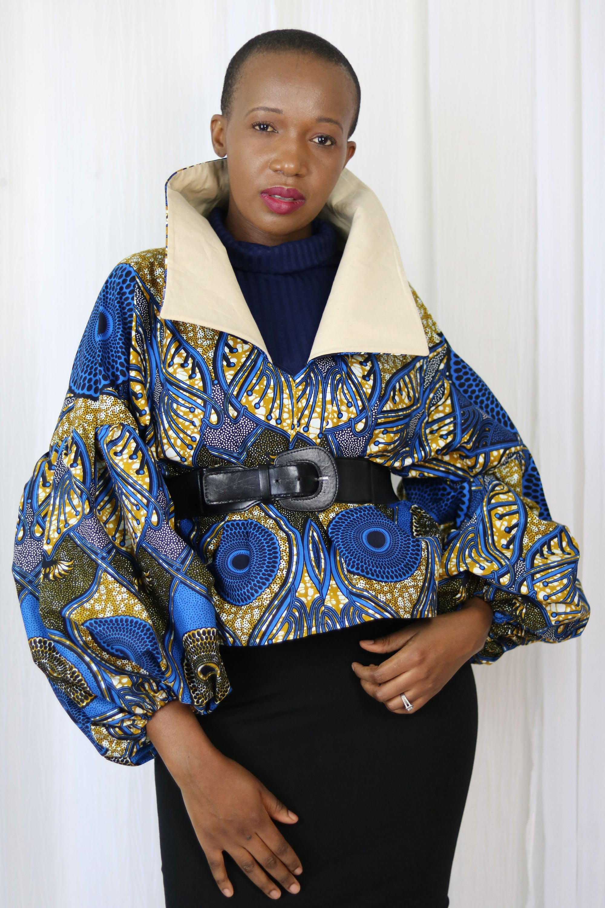 AFRICAN PRINT /ANKARA HIGH COLLAR FALL TOP - ROYAL BLUE,/BAIGE FLORAL PRINT