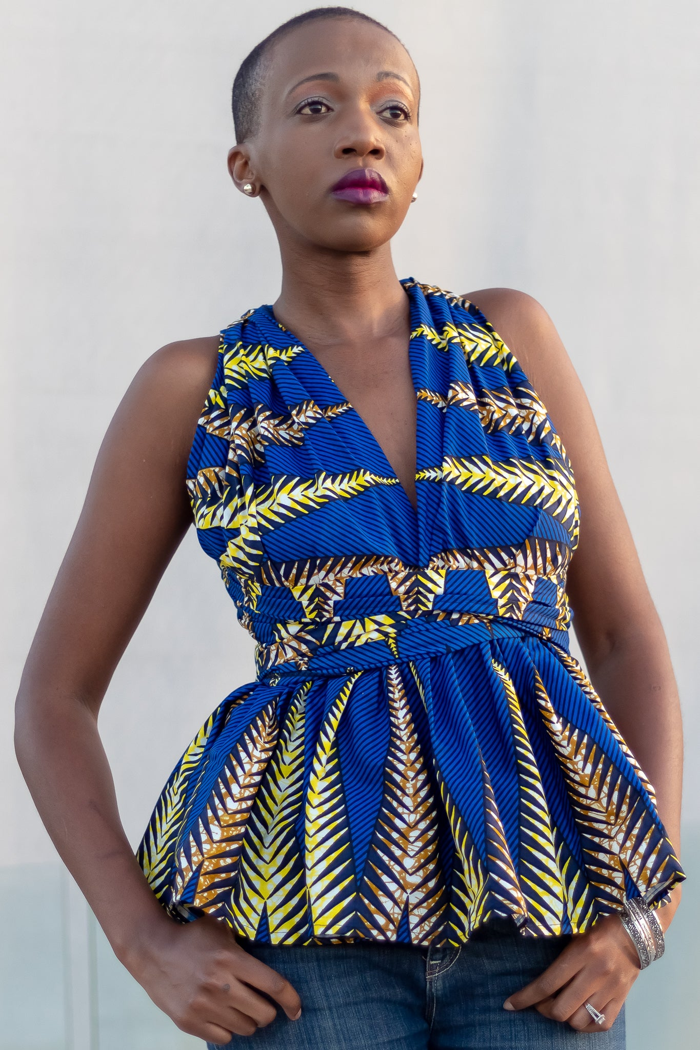 African Print Mtindo Blue Infinity Top - Blue /Yellow Tribal Print - Africas Closet