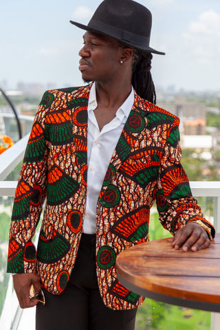 African Print Blazer Jacket - Orange/Green Floral Print
