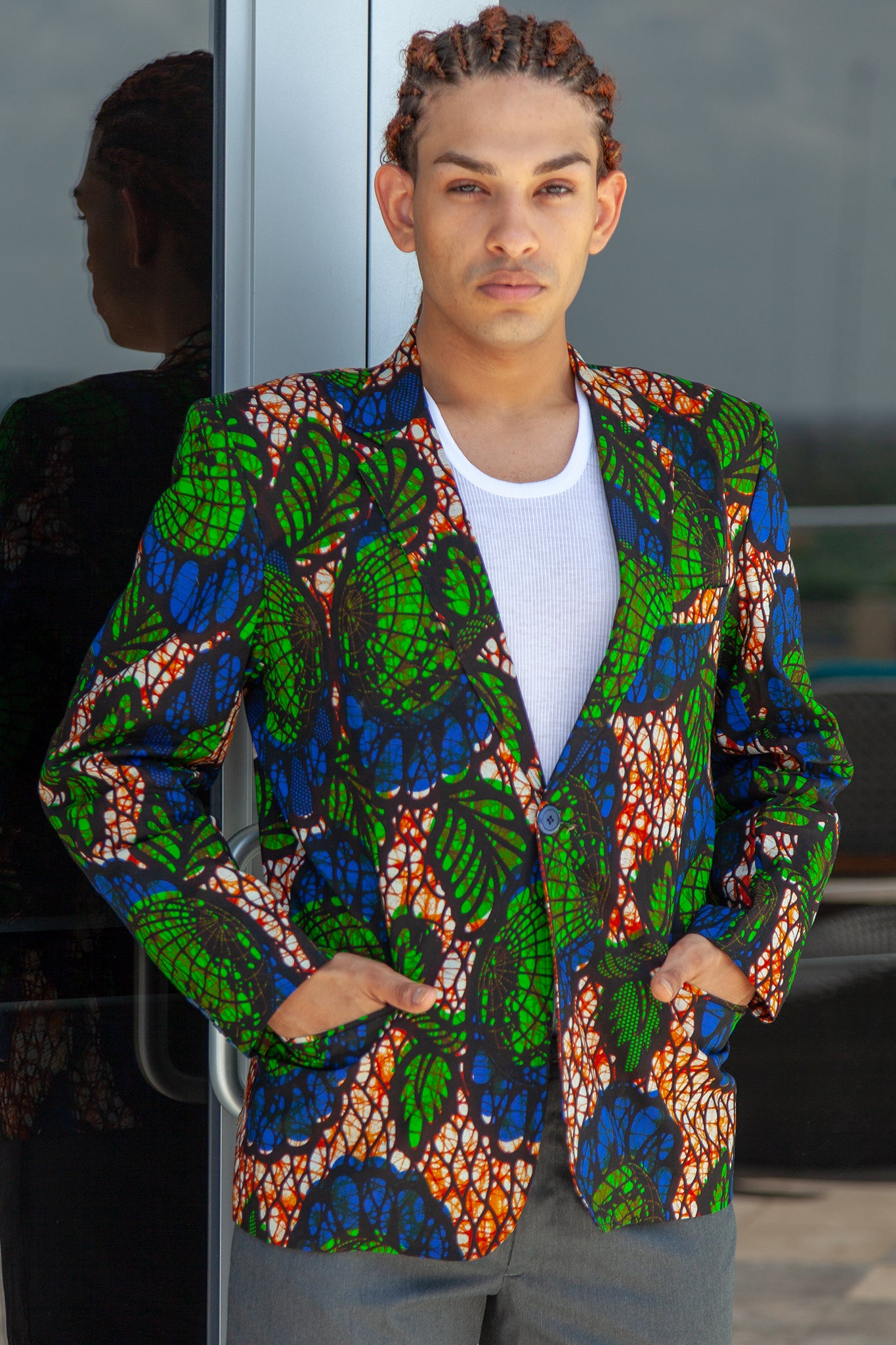 African Mens Blazer Jacket - Royal Blue/Green Floral print - Africas Closet