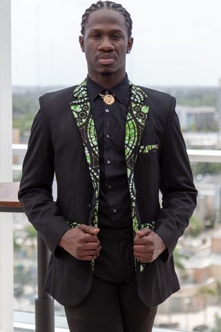 African Mens Blazer Jacket - Green/Black Batik Print