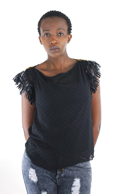 Mila Sheer Fringe Top - Black - Africas Closet