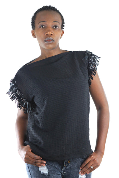 Mila Sheer Ribbed Fringe Top - Black - Africas Closet