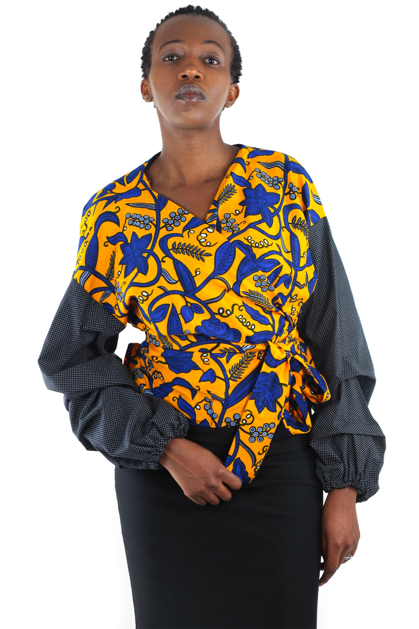 African Print  Mila Wrap Shirt - Blue/Orange/Black Floral Print - Africas Closet