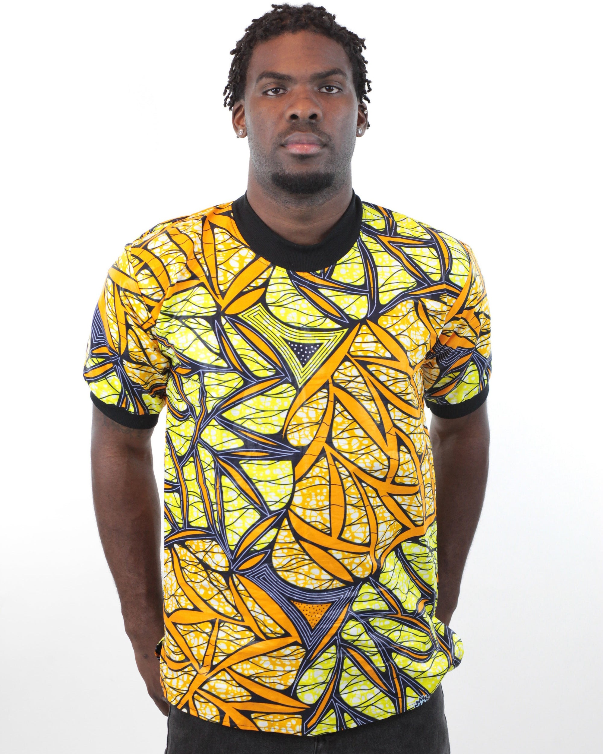 African Print Short Sleeved T-Shirt-Yellow/Black - Africas Closet