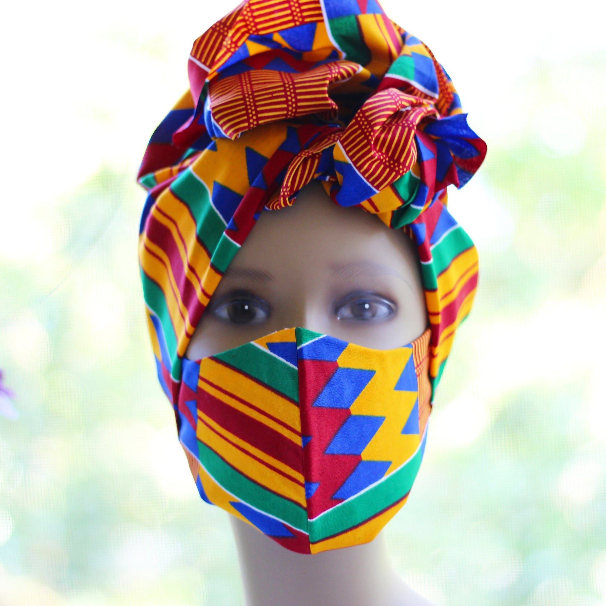 Ankara /African Print Mask (Headwrap Set) - Orange Kente Print - Africas Closet
