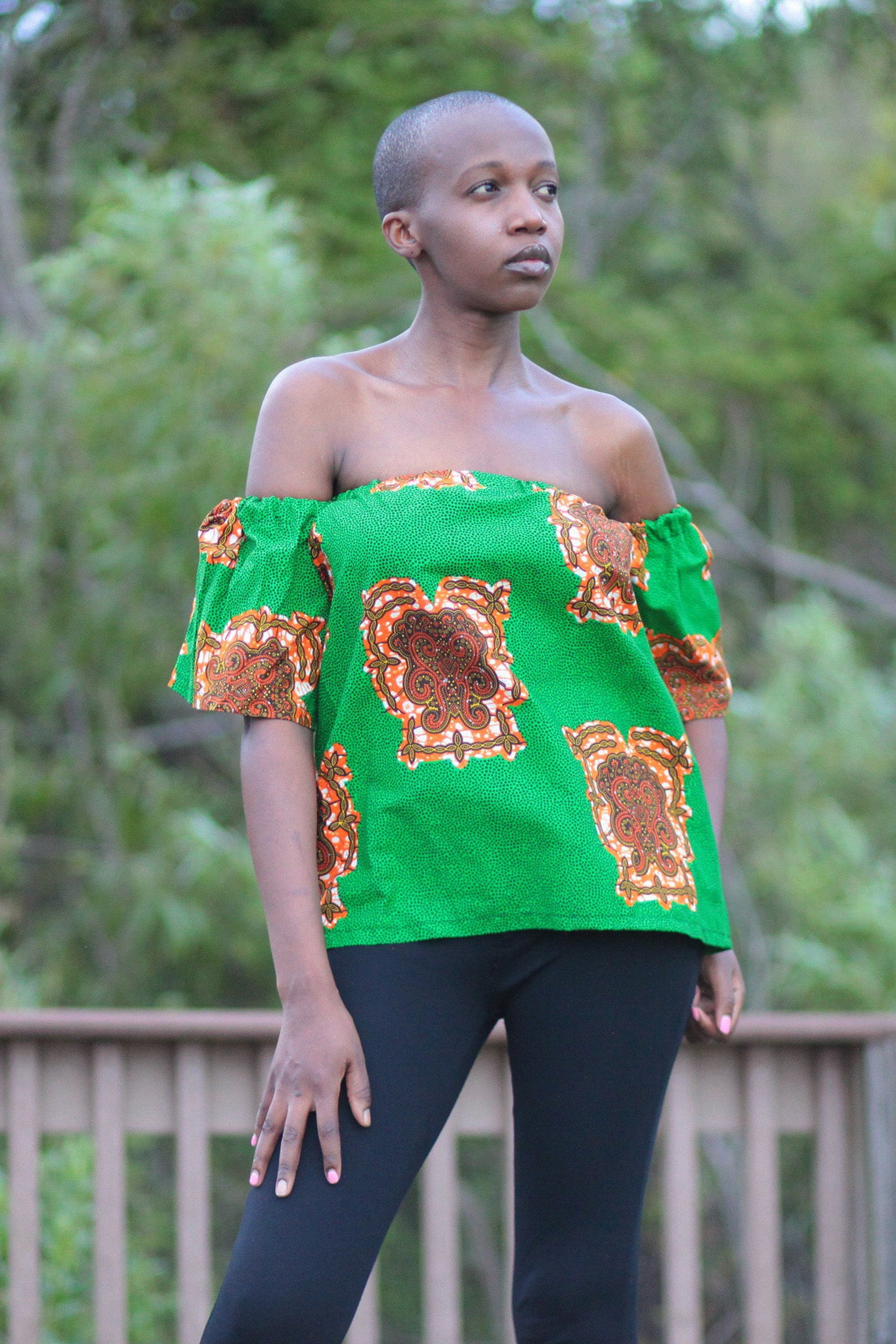 African Print Raha Cape Top -Green/Gold Tribal Print - Africas Closet
