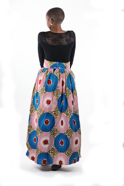 African Print Maxi Skirt-Blue/Red Concentric Print - Africas Closet