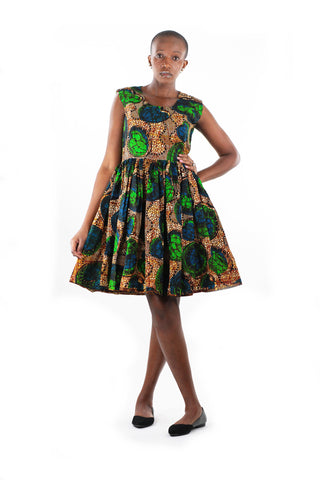 African Print Gathered Midi Dress - Blue/Brown/Green Floral Print