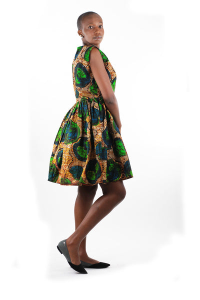 African Print Gathered Midi Dress - Blue/Brown/Green Floral Print - Africas Closet