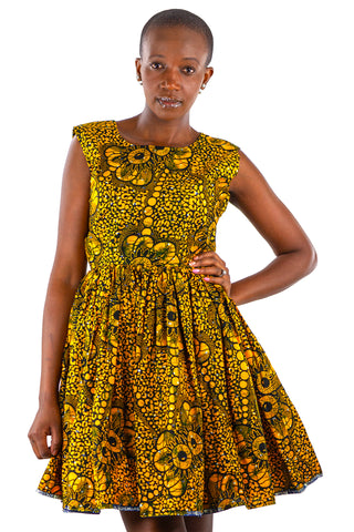 African Print Gathered Midi Dress - Yellow/Black Blue Floral Print