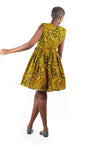African Print Gathered Midi Dress - Yellow/Black Blue Floral Print - Africas Closet