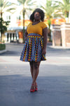 African Print Midi Flare Skirt - Red/Blue /Jungle Green Geometric Print - Africas Closet