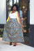 African Print Maxi  Skirt- Grey/Black/Yellow Geometric Print - Africas Closet