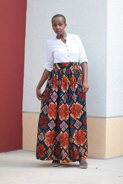 African Print Maxi Skirt-Blue/Orange Geometric Print - Africas Closet