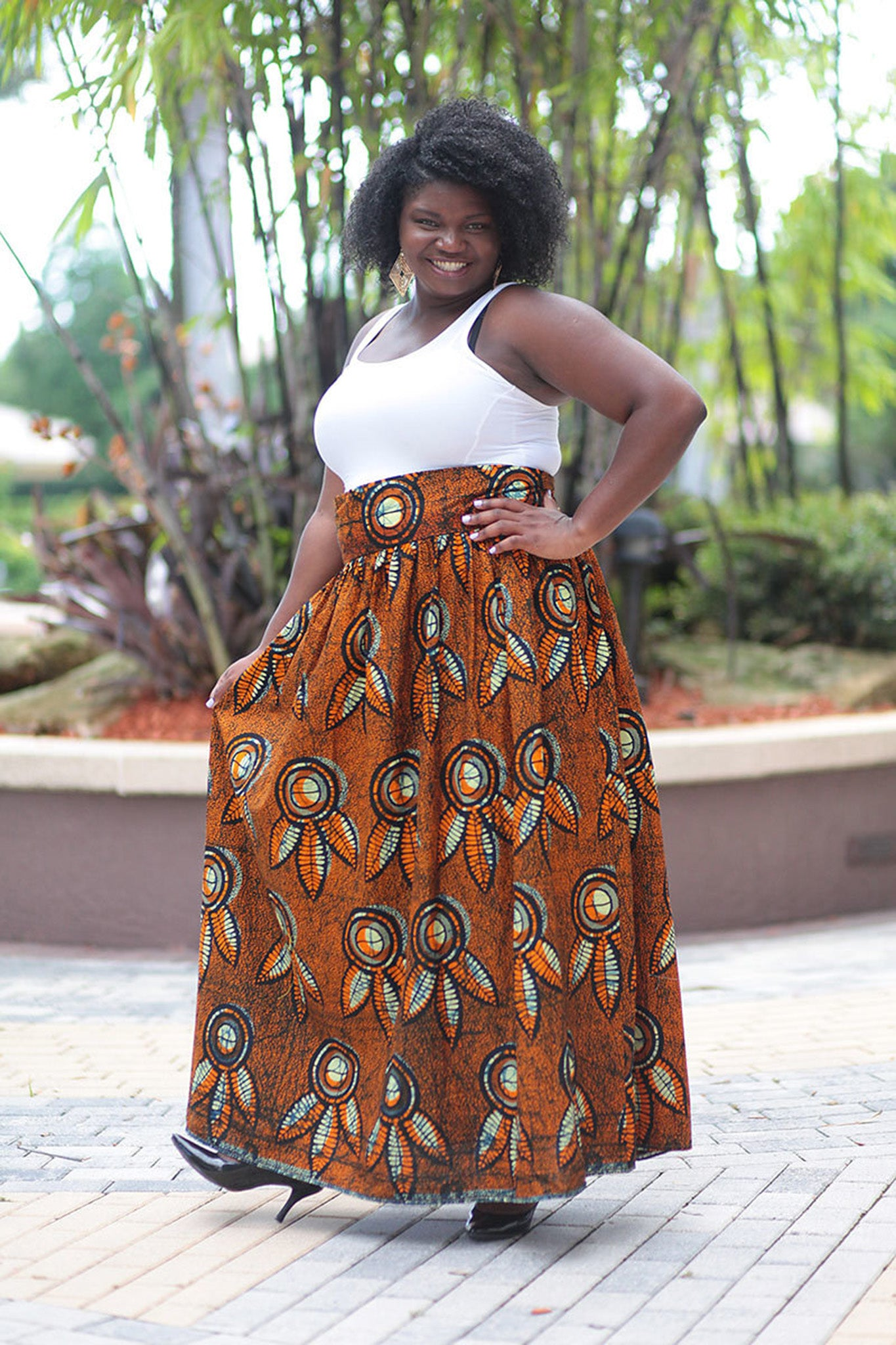 African Print Maxi - Orange/Black Floral Print - Africas Closet