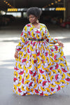 African Print Maxi Dress - White/Yellow /Red Floral Print. - Africas Closet