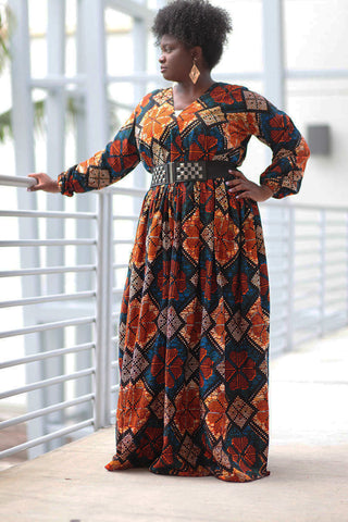 African Print Maxi Dress - Blue/Orange Geometric Print