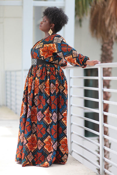 African Print Maxi Dress - Blue/Orange Geometric Print - Africas Closet