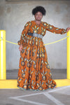 African Print Maxi Dress - Orange/Cream Floral Print. - Africas Closet