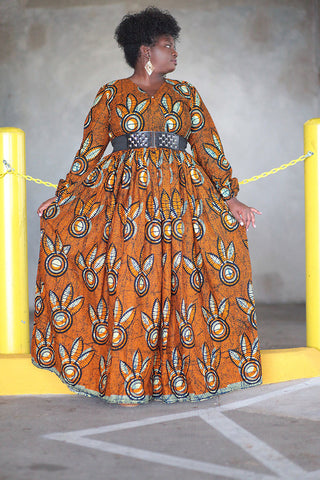 African Print Maxi Dress - Orange/Cream Floral Print.