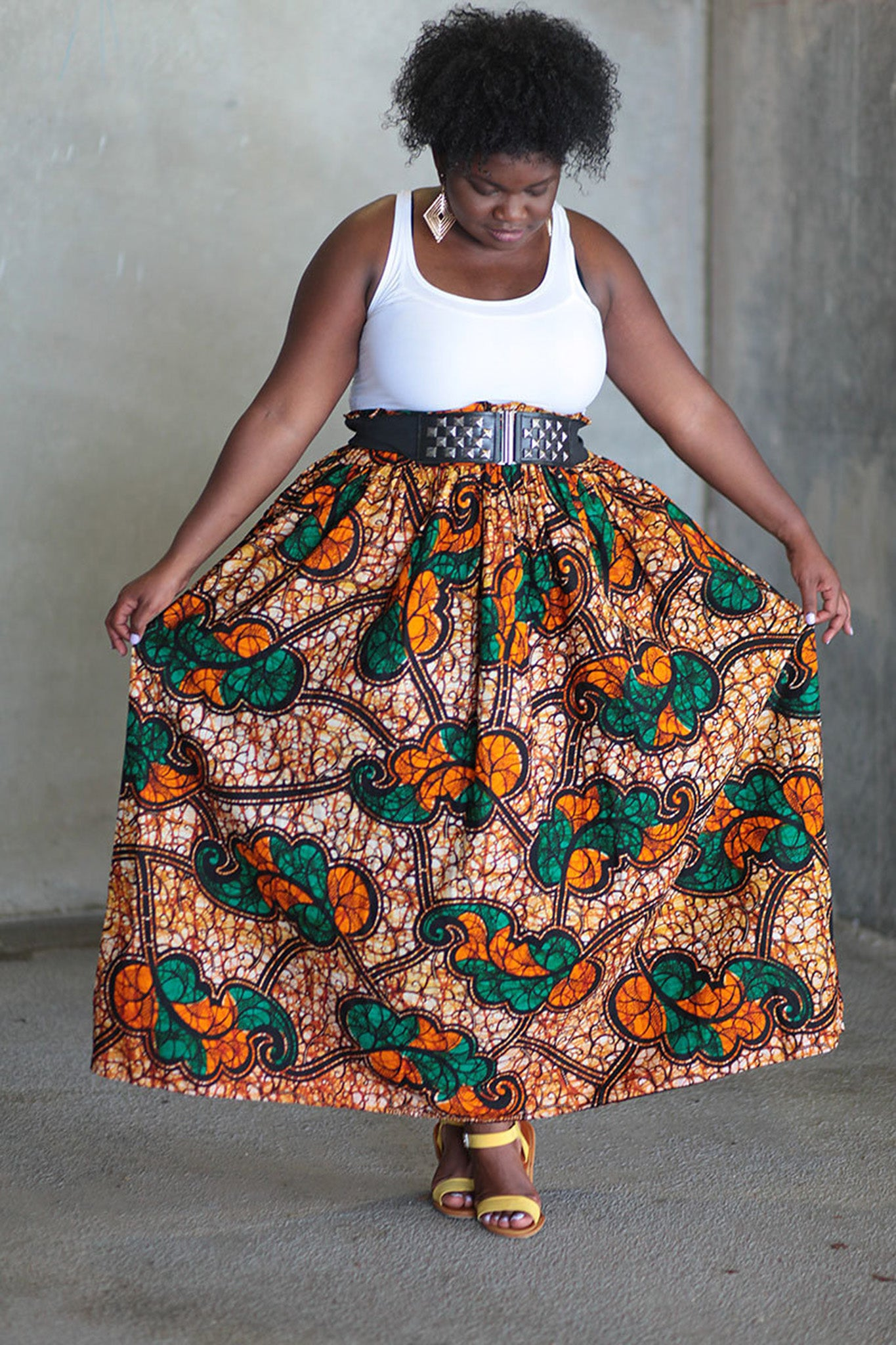 African Print Maxi - Orange/Black/Green Floral Print - Africas Closet
