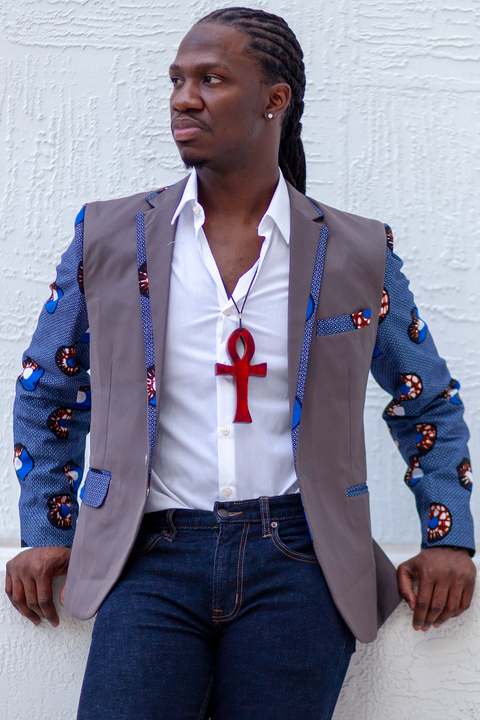African Mens Blazer Jacket - Grey/Blue Circle (Concentric) Print