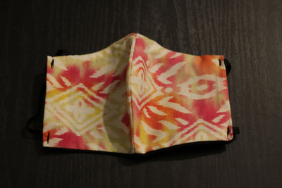 African Print Face Mask- Yellow/White/Pink Tribal Print