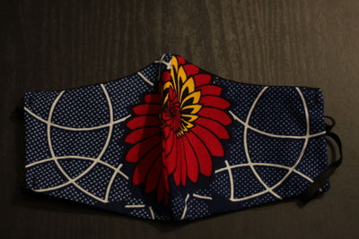 African Print Face Mask-Blue/Orange/Red Floral Print
