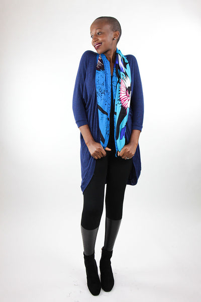 African Scarf-Royal Blue/Black Tribal Print - Africas Closet