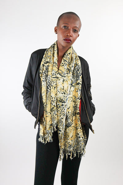 African Scarf-Gold/Black Leopard Print - Africas Closet