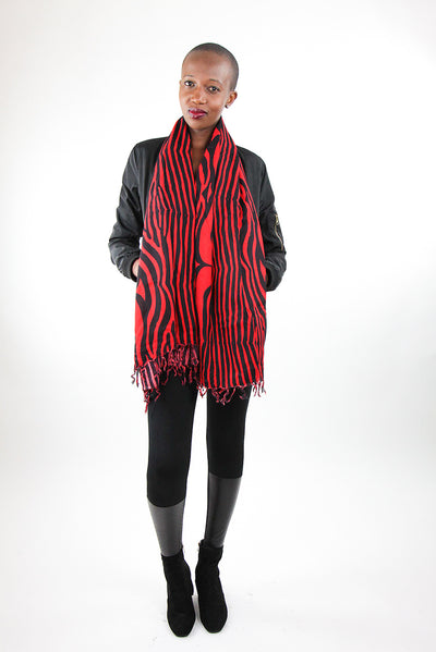 African Scarf-Red/Black Zebra Print - Africas Closet