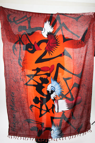 African Scarf-Maroon/Black Tribal Print - Africas Closet