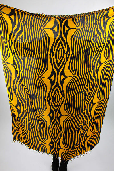 African Scarf- Gold Yellow/Black Zebra Print. - Africas Closet